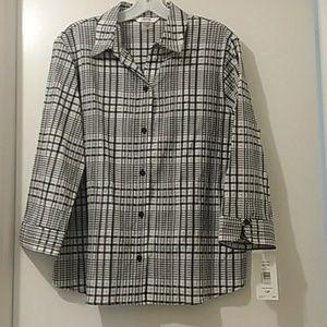 Alias Petite NEW W/TAG blouse black/white 12P